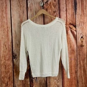 Joie 100% Linen Crochet Style Sheer Sweater Small